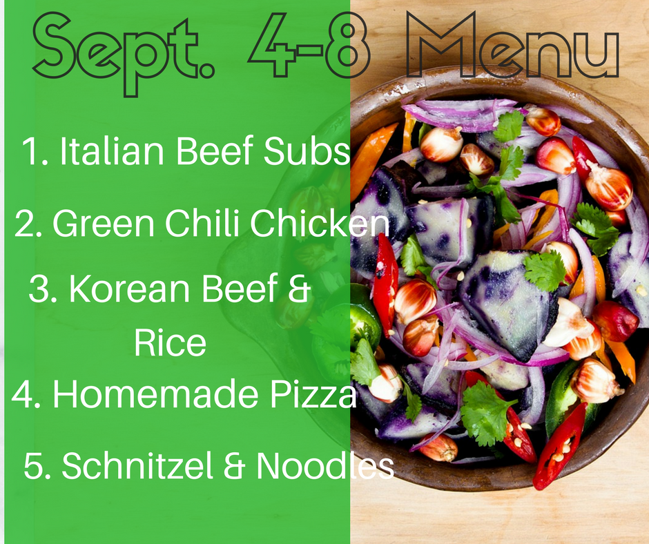Sept. 4-8 Pinterest Inspired Weekly Menu