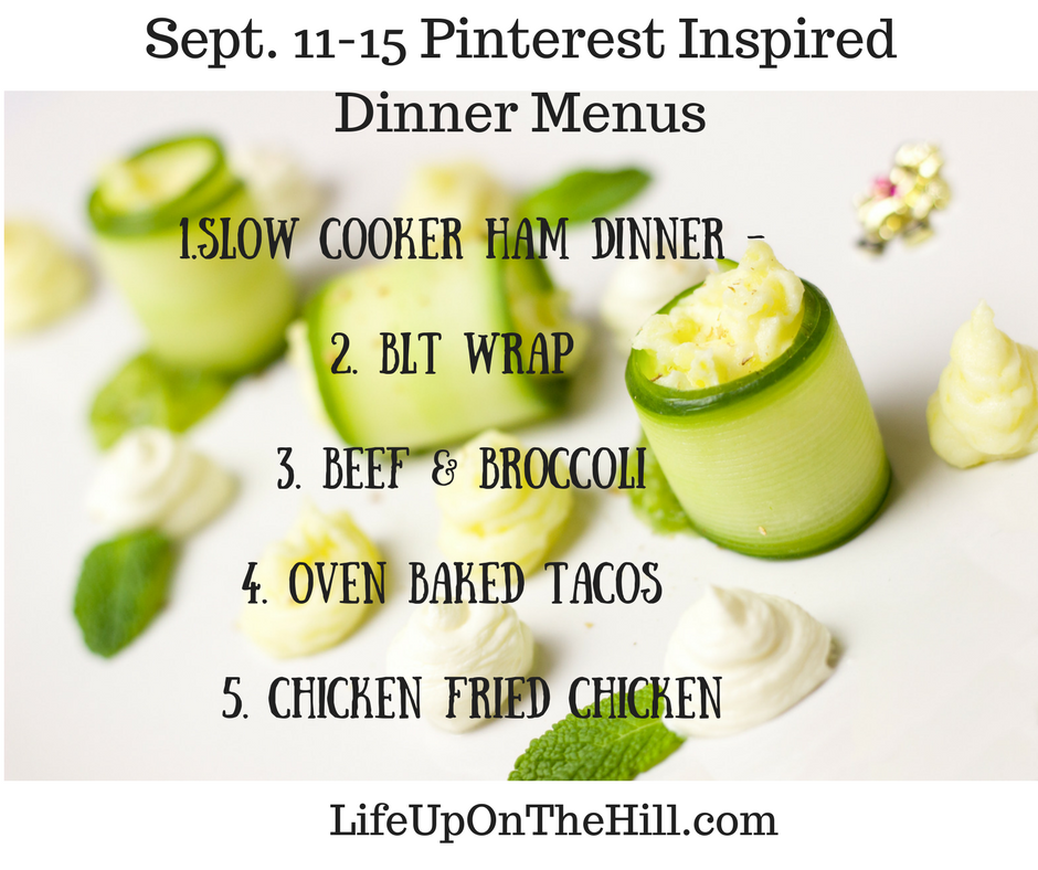 Sept. 11-15 Pinterest Inspired Dinner Menu Plan